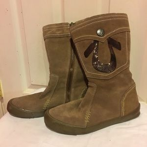 TRUE RELIGION SUEDE LEATHER TAN SEQUIN BOOTS: 8.5